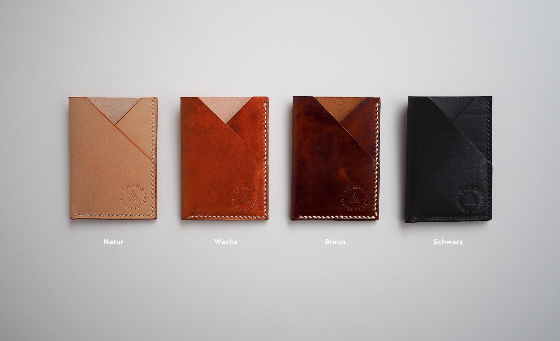 Cardholder Farben natur wachs braun schwarz
